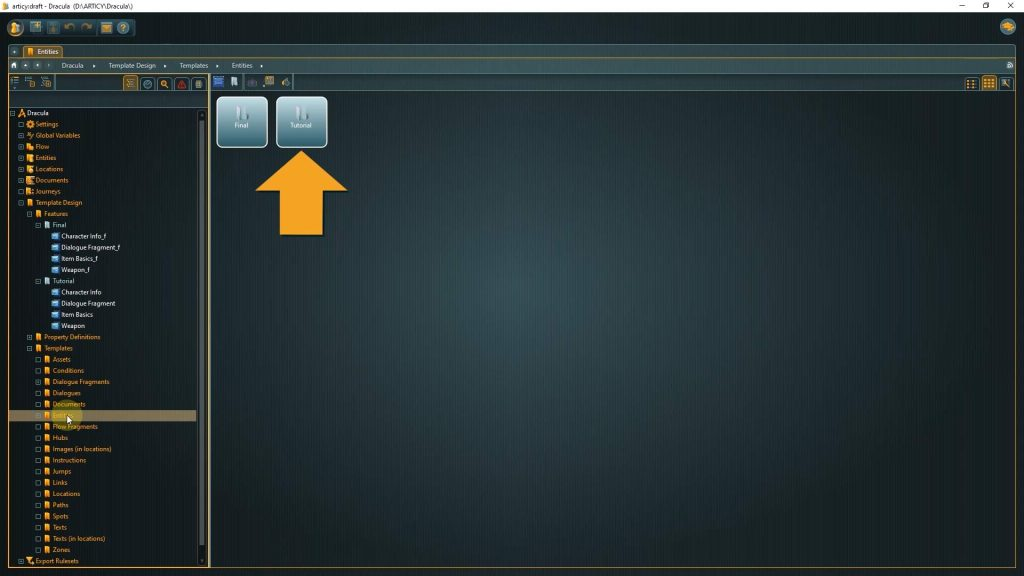 articy draft screenshot with arrow pointing to Tutorials folder