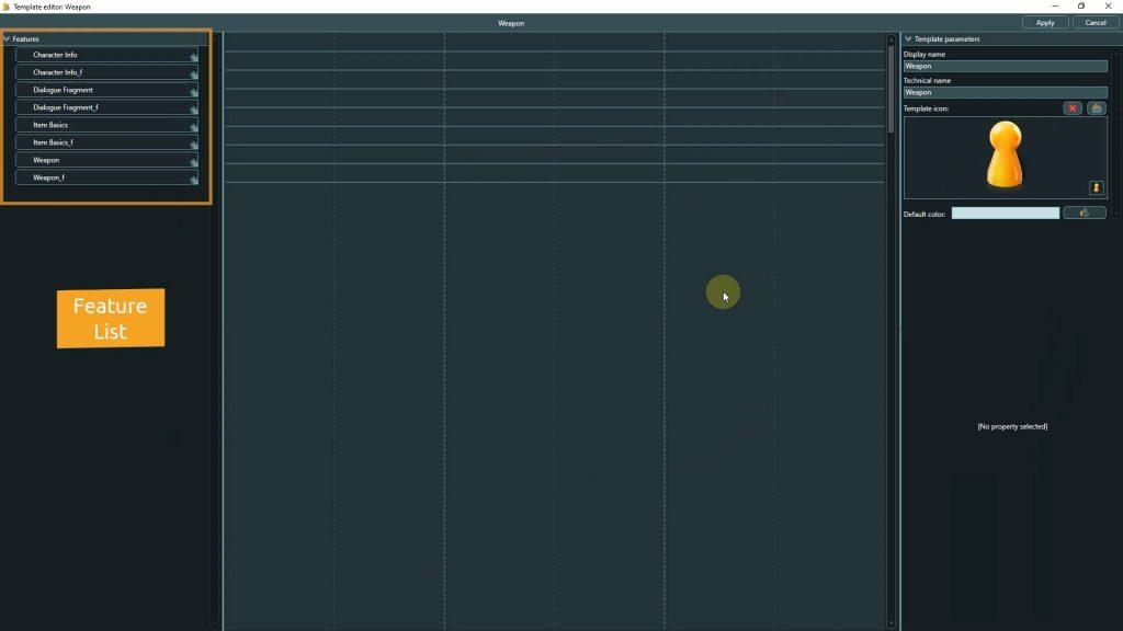 Template Editor screenshot highlighting the Feature list