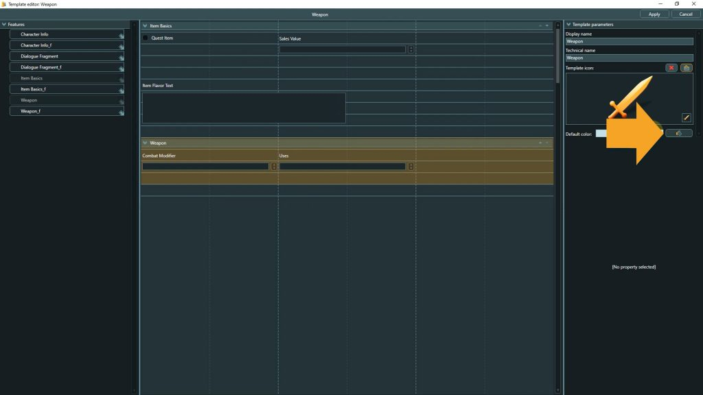 Template Editor screenshot with instructions to change the template color