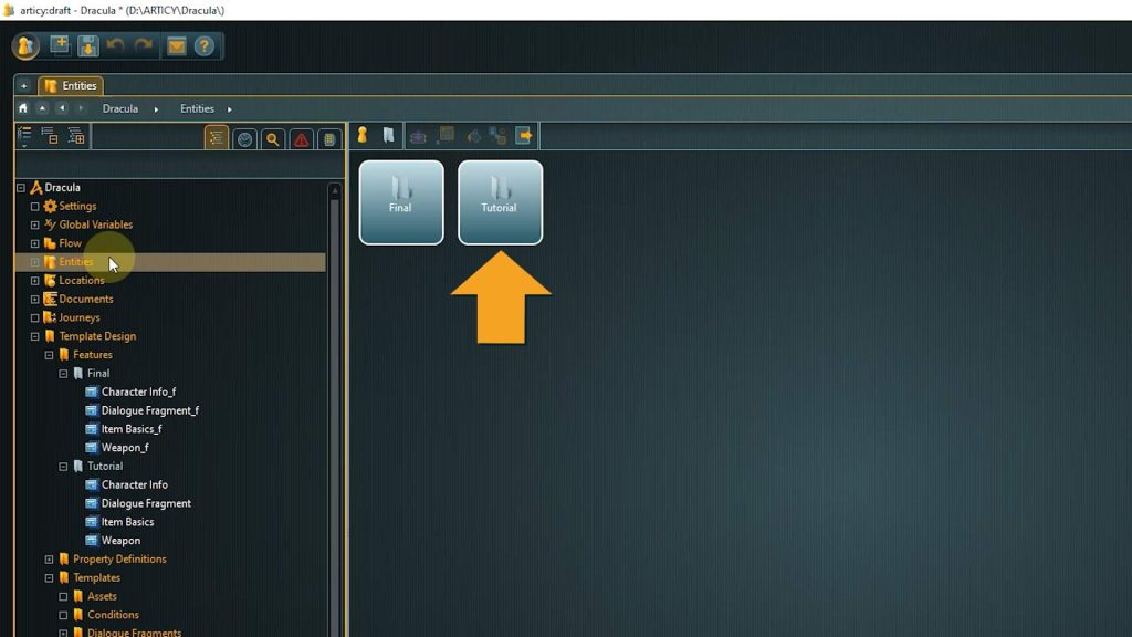 articy draft screenshot with arrow pointing to the tutorial folder