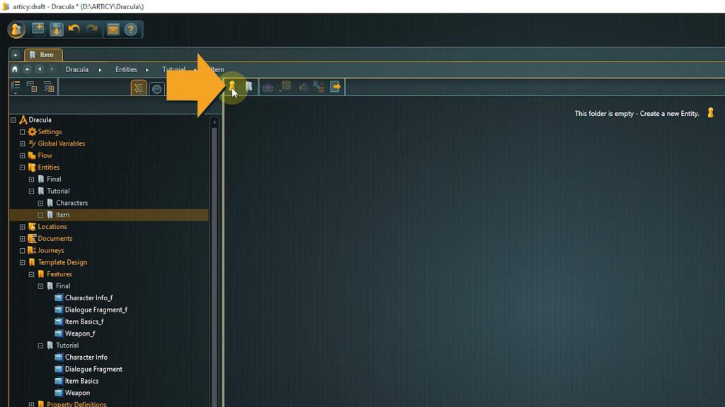 articy draft screenshot with arrow pointing to create new entity icon