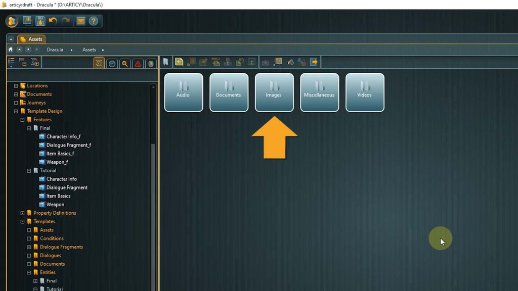 Assets screenshot with arrow pointing to Images folder
