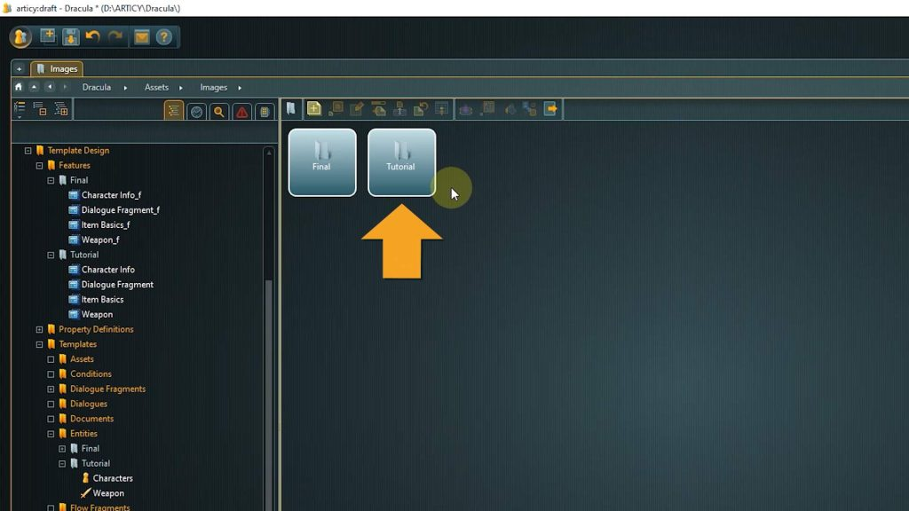 Assets Screenshot with arrow pointing to Tutorial Folder
