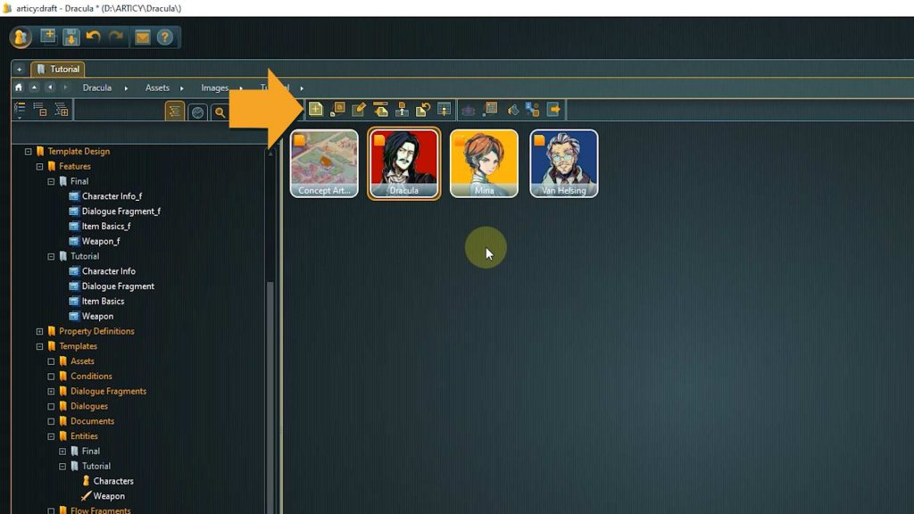 Assets screenshot with arrow pointing to Import Assets icon
