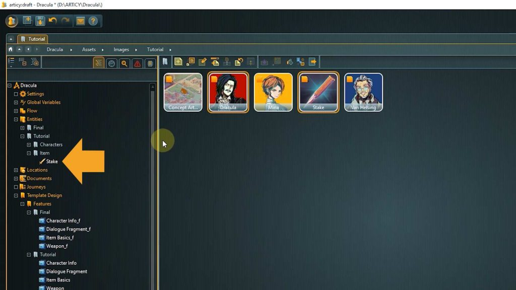 Assets screenshot with arrow pointing to the Stake entry in Entities on the navigator