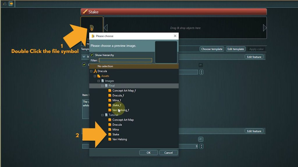 Entities screenshot with instructions to apply an asset