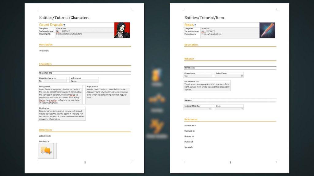 Export screenshot of a sample for character sheet