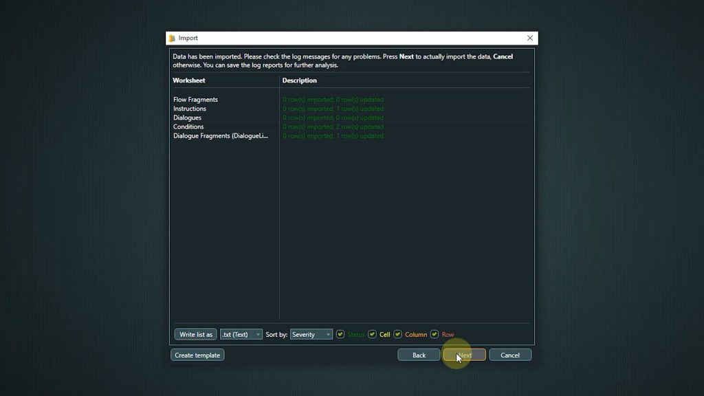 Import screenshot of confirmation screen