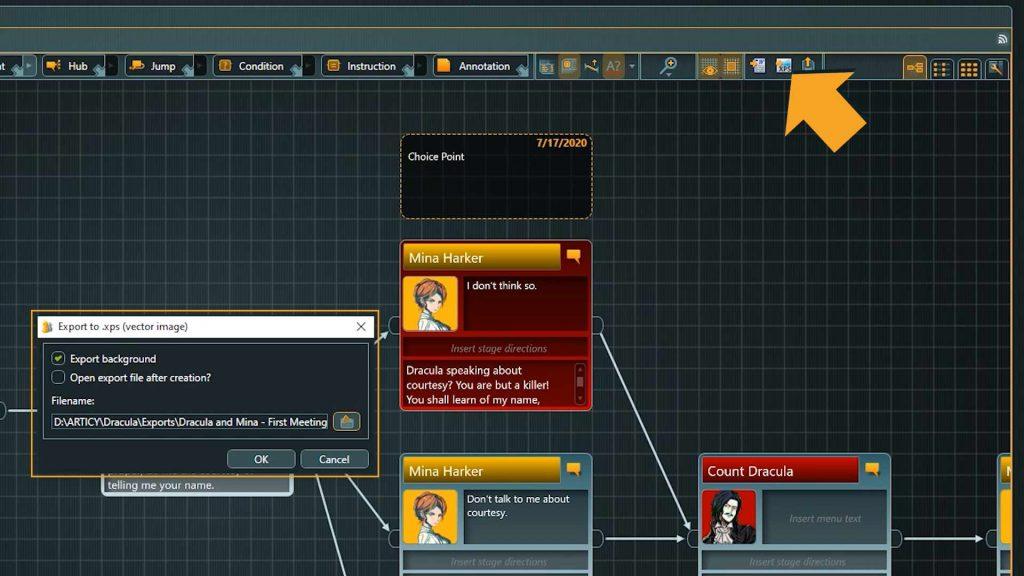 Flow Screenshot of XPS Export Options