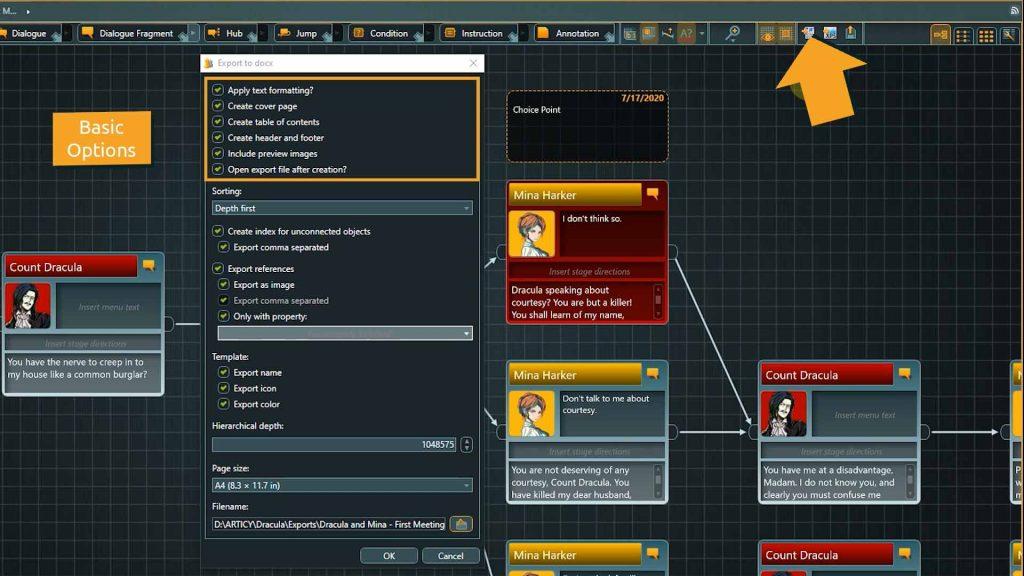 Flow to Word export screenshot highlighting basic options