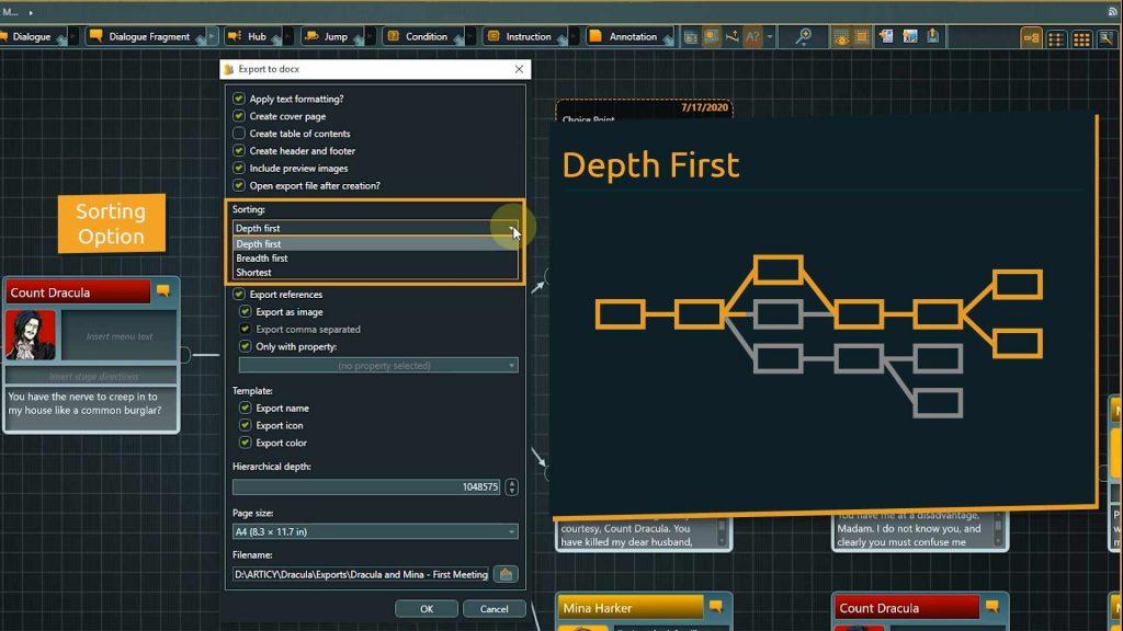 Flow to Word export - Depth First