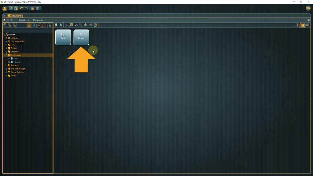 Documents screenshot with arrow pointing to the tutorial folder