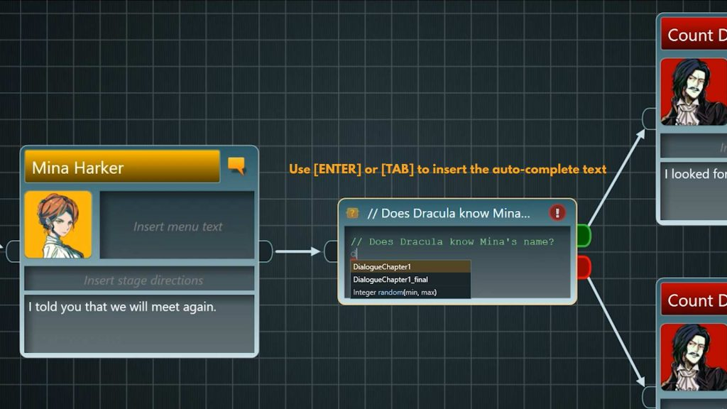 Flow screenshot showing autocomplete