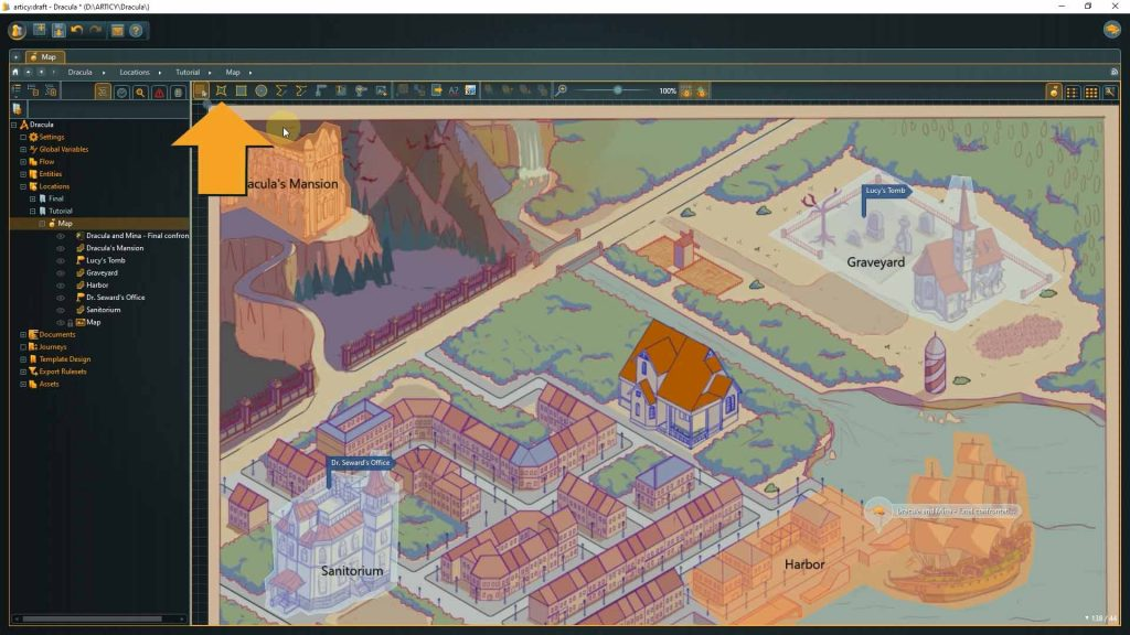 articy location editor screenshot with instructions to select cutom zone tool