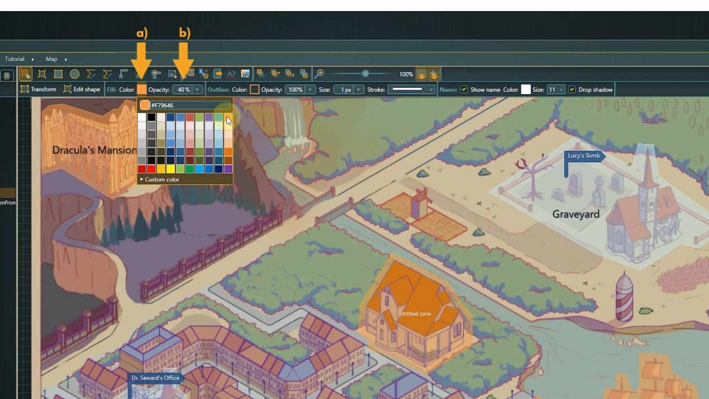 articy location editor screenshot with arrows pointing towards color and opacity options