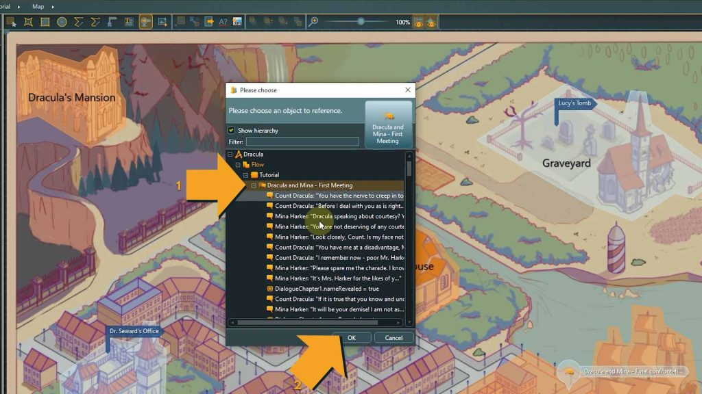 articy location editor screenshot with instructions to choose link target