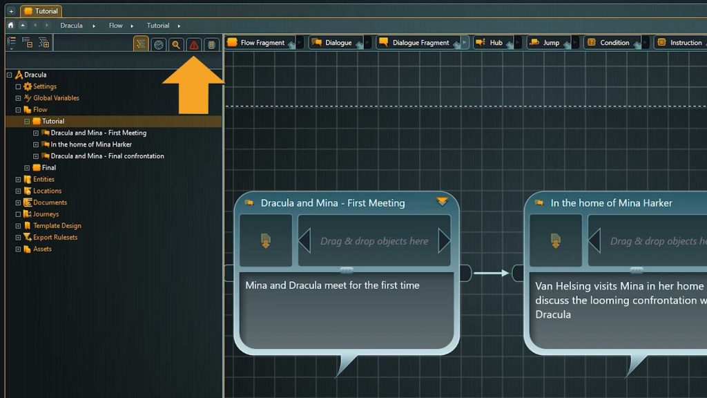 articy flow screenshot with arrow pointing to conflict search icon