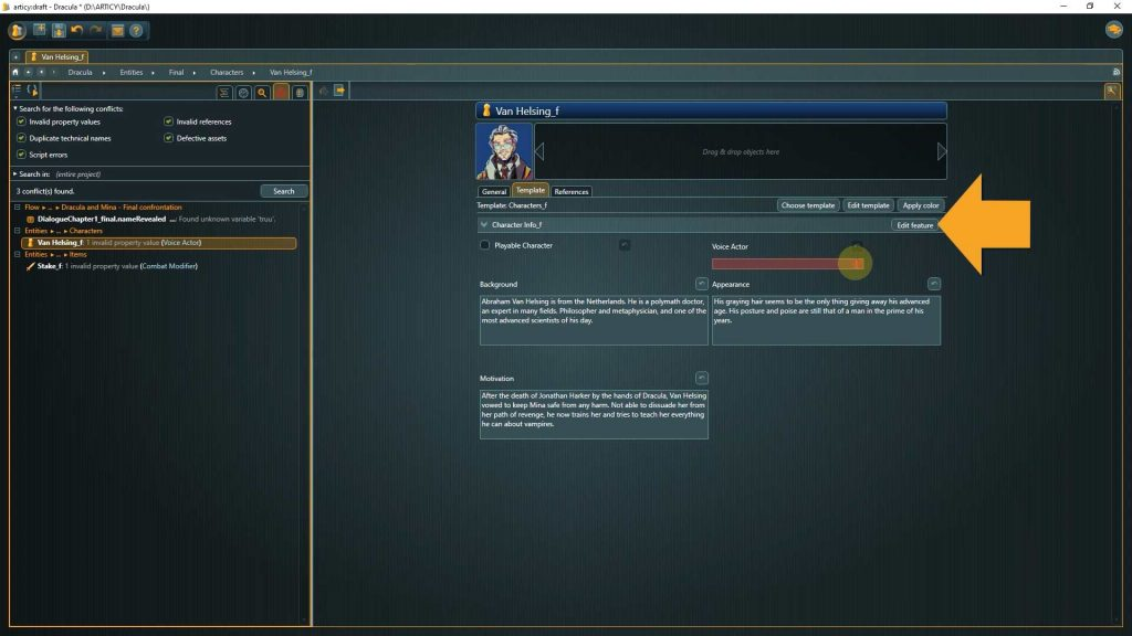 articy conflict search screenshot with arrow pointing to edit feature button