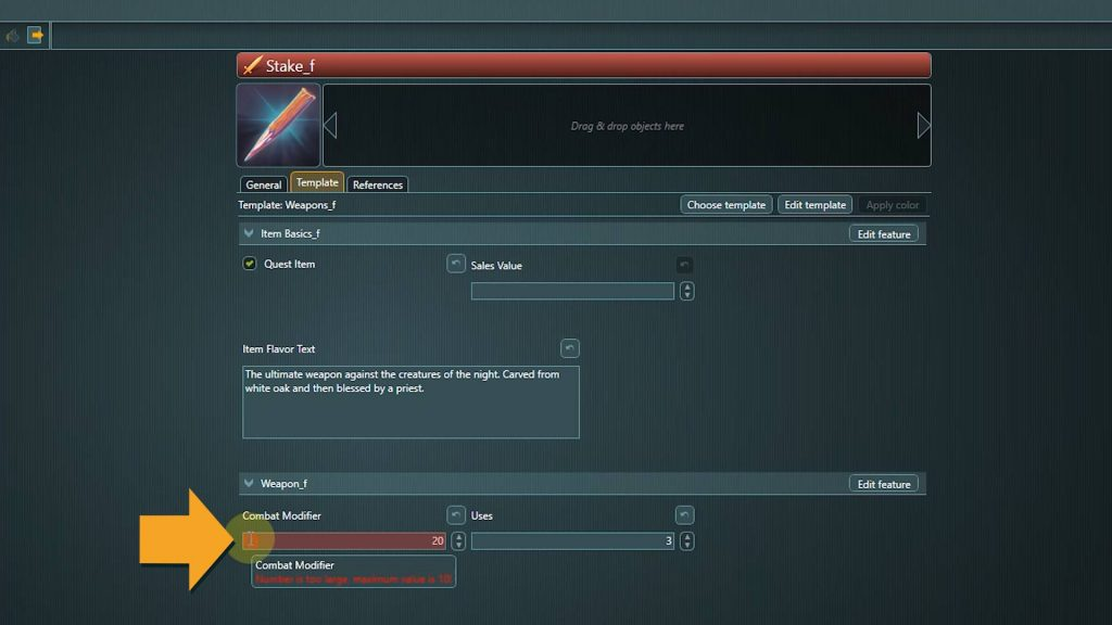 articy conflict search screenshot of field details
