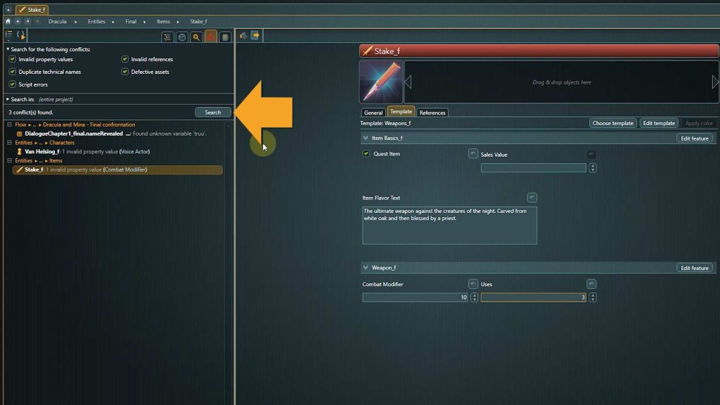 articy conflict search screenshot with arrow pointing to search button