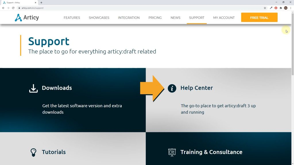 articy website screenshot with arrow pointing to the help center