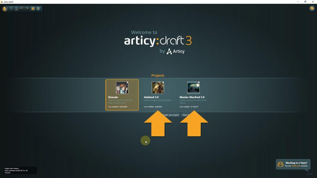 articy draft screenshot of available demo projects