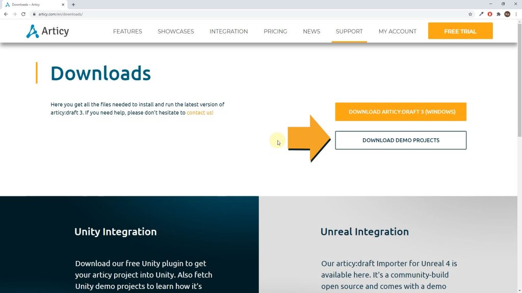 articy draft website screenshot with arrow pointing to download demo projects