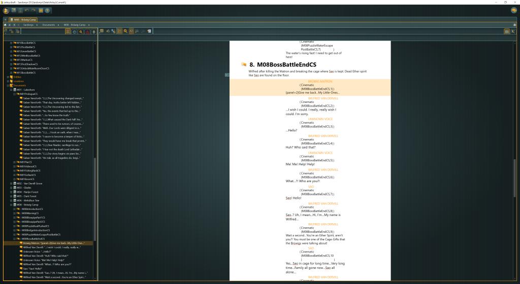 Legends of Ethernal articy:draft screenshot in flow view