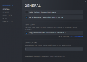 Steam pop-up showing General launch options for a game or tool