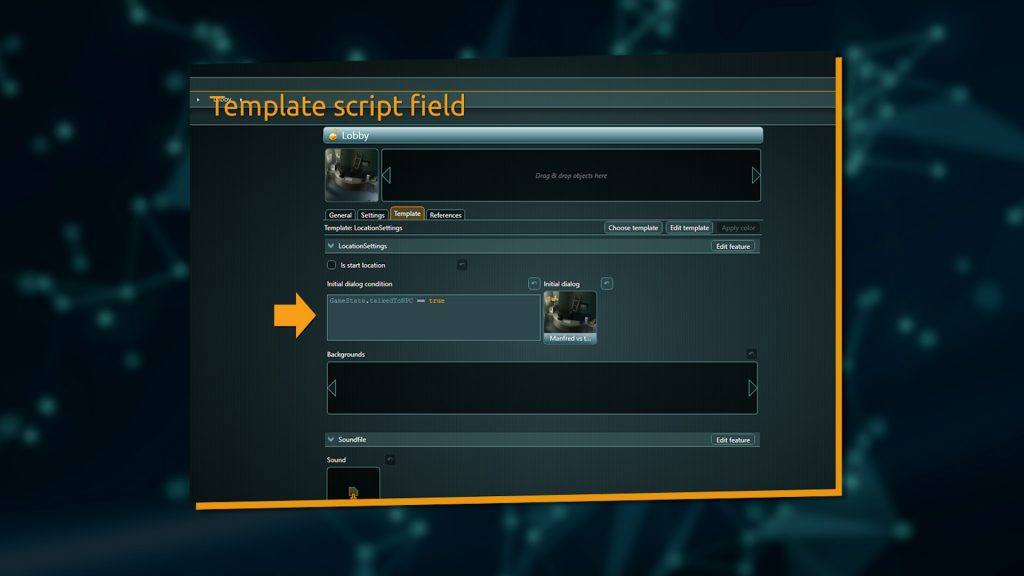 Example of a script field inside a Template