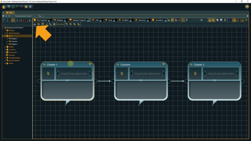 Submerge into a dialogue node or flow fragment via toolbar or Enter hotkey