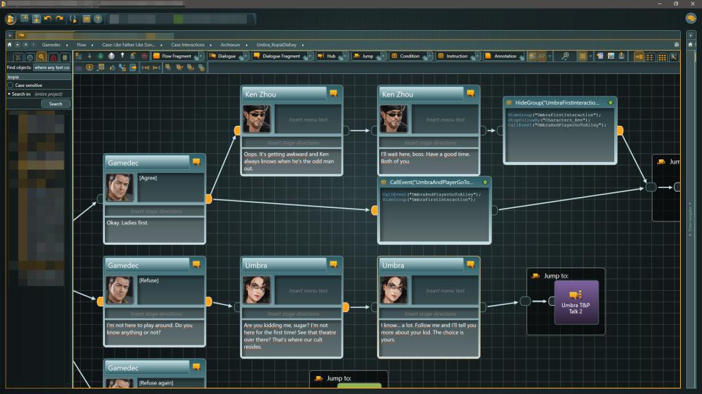 Gamedec articy in-app screenshot